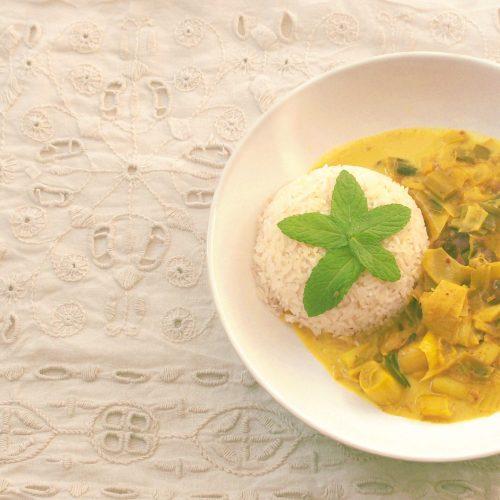 Riz au lait de coco, poireaux champignons et épices