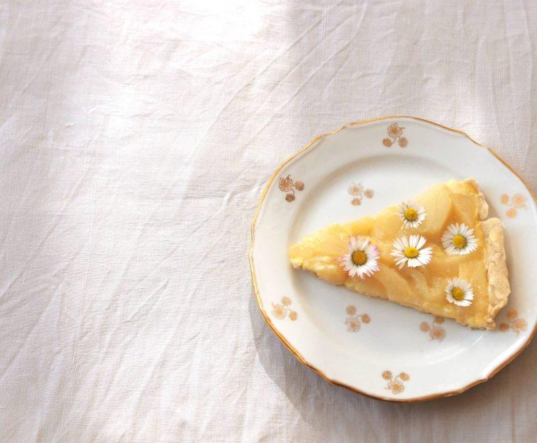 Tarte aux poires, amandes, citron